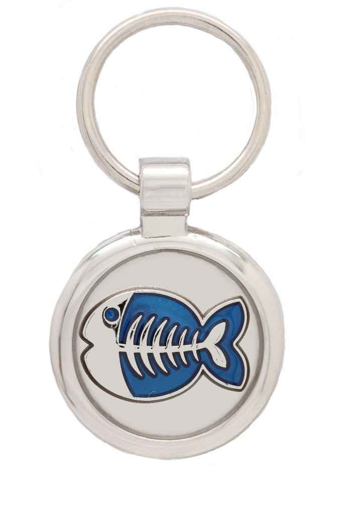 Extra Small Metallic Blue Fish Pet Tag - Pawprint Pet Tags