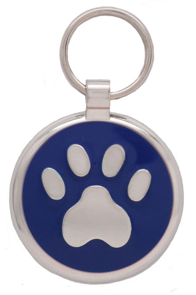 Dark Blue Pawprint Pet Tag - Pawprint Pet Tags