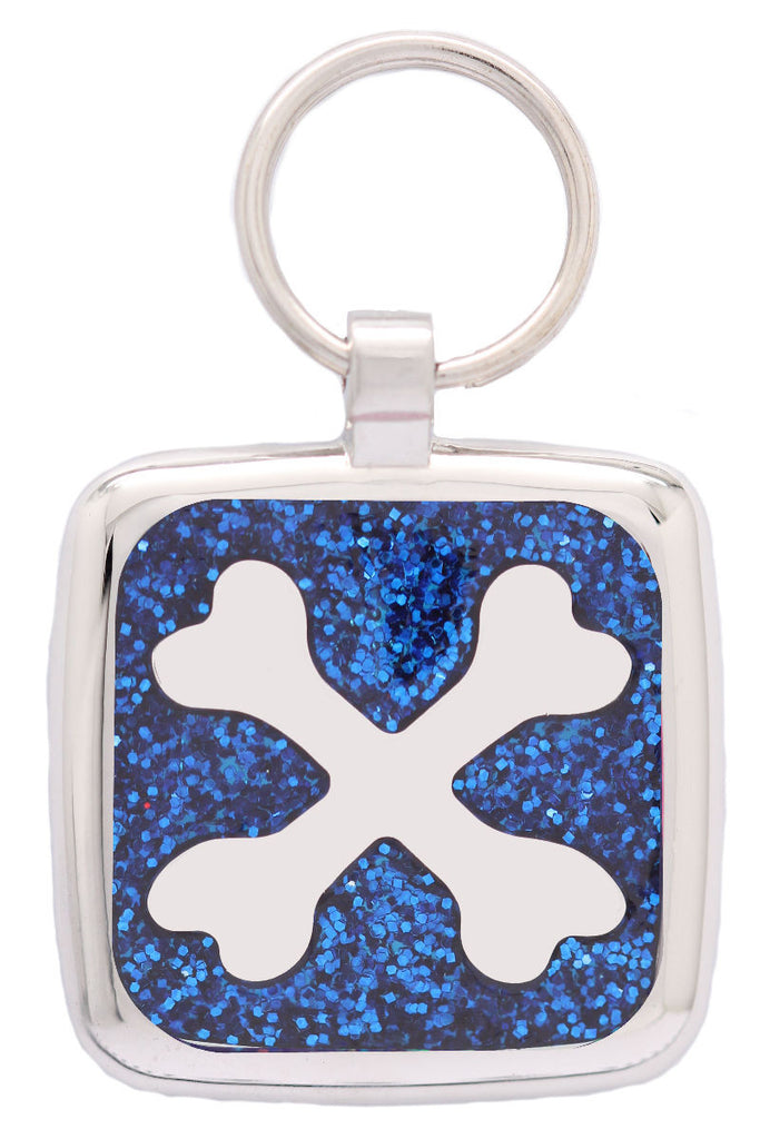 Blue Glitter Crossbone Pet Tag - Pawprint Pet Tags