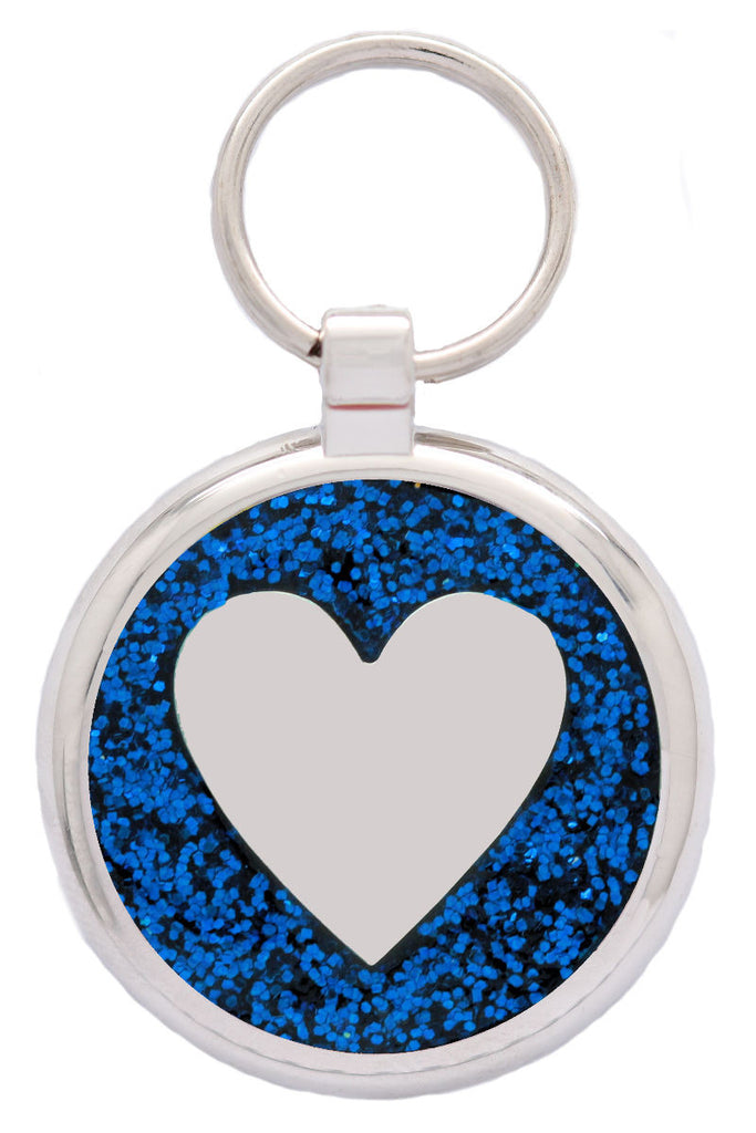 Blue Glitter Love Heart Pet Tag - Pawprint Pet Tags
