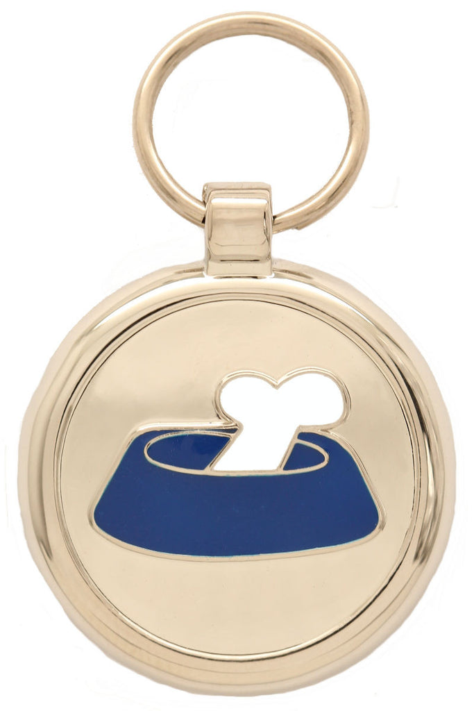 Dark Blue Bone in a Bowl Pet Tag