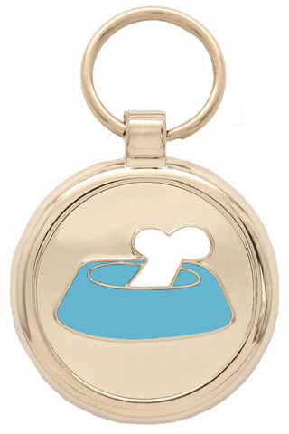 Dark Blue Bone'N'Bowl Pet Tag
