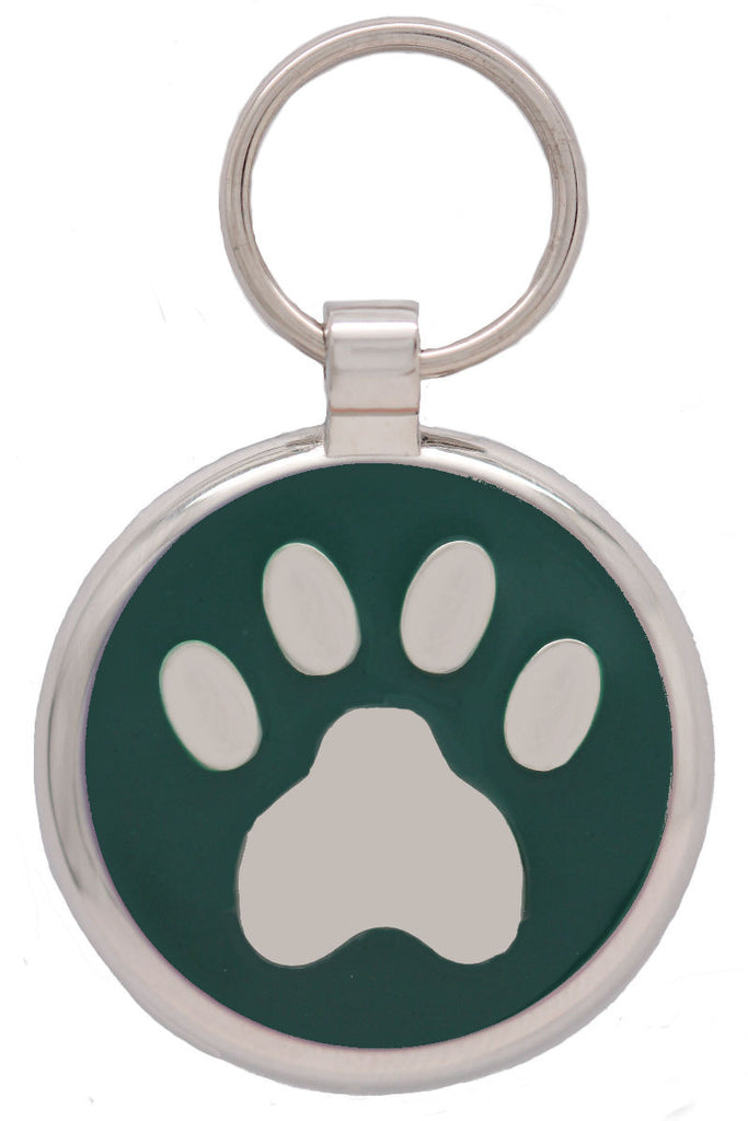 Dark Green Pawprint Pet Tag - Pawprint Pet Tags