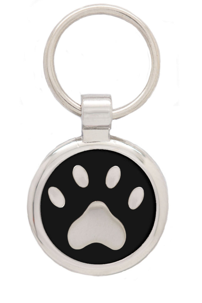 Black Puppy Collar & Extra Small Pawprint Pet Tag - Pawprint Pet Tags
