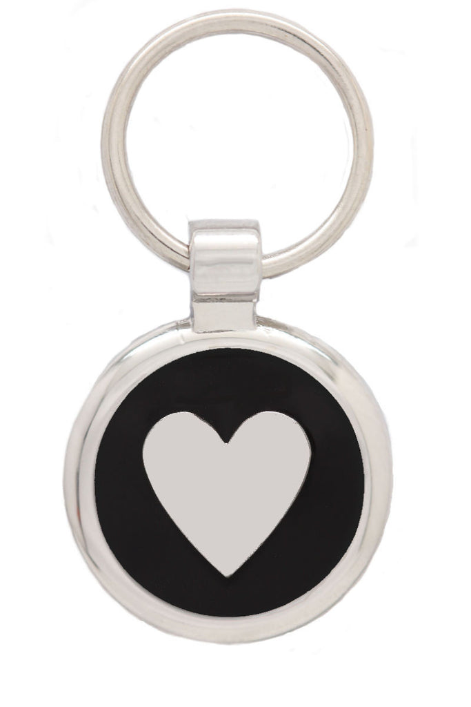 Extra Small Black Love Heart Pet Tag - Pawprint Pet Tags