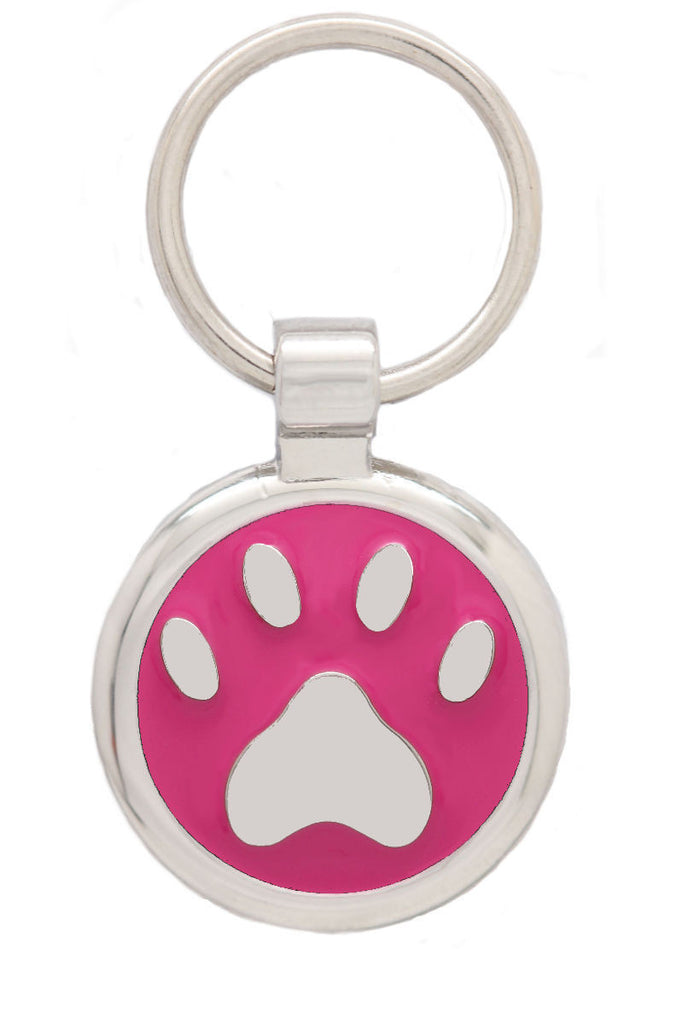 Extra Small Pink Pawprint Pet Tag - Pawprint Pet Tags