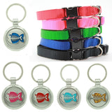 Fluro Pink Puppy Collar & Extra Small Fish Pet Tag - Pawprint Pet Tags