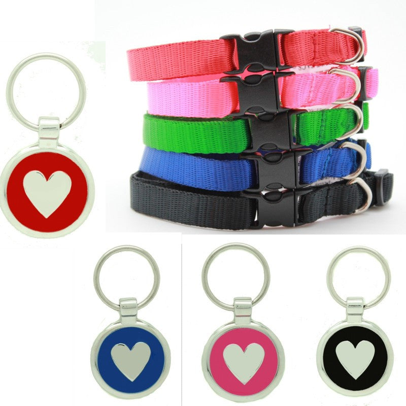 Cat Collar and Heart Id Tag