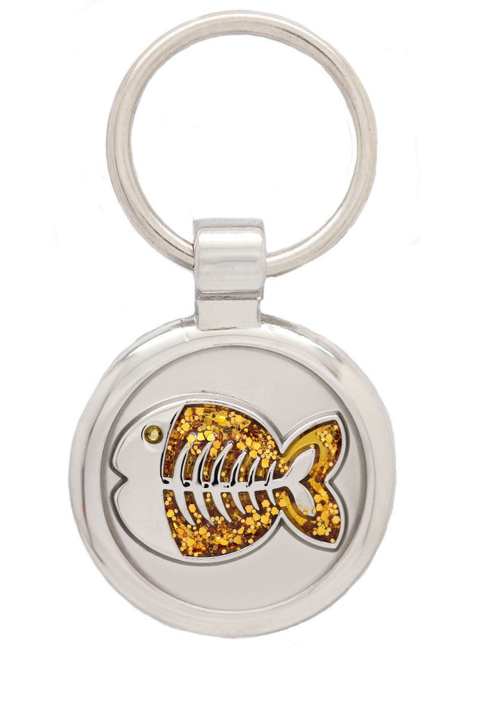 Yellow Puppy Collar & Extra Small Fish Pet Tag - Pawprint Pet Tags