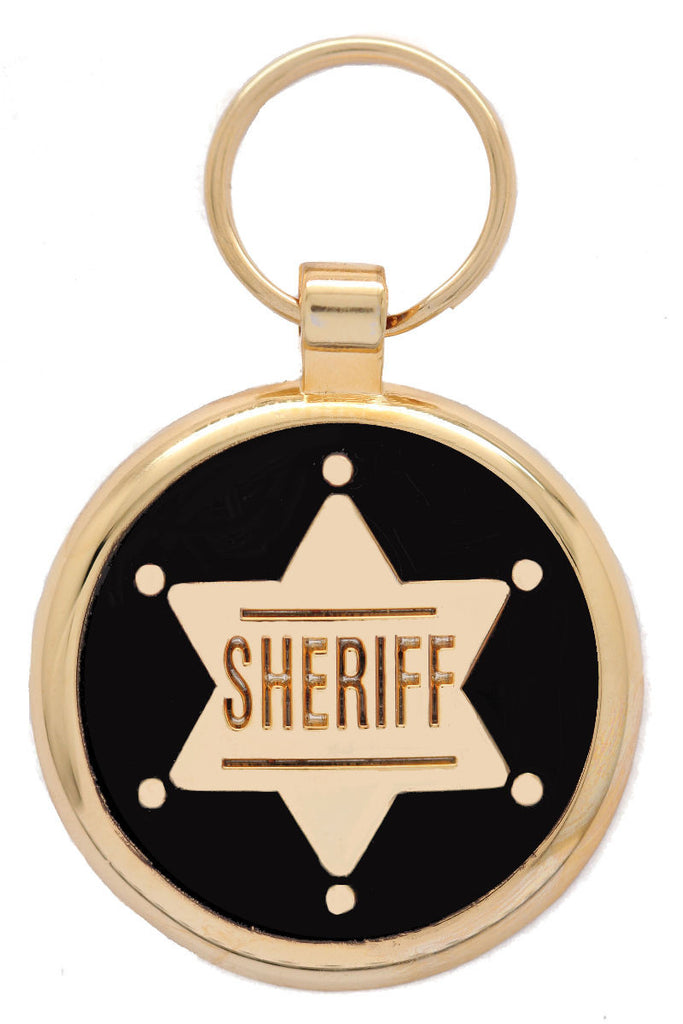 Gold Sheriff Pet Tag - Pawprint Pet Tags