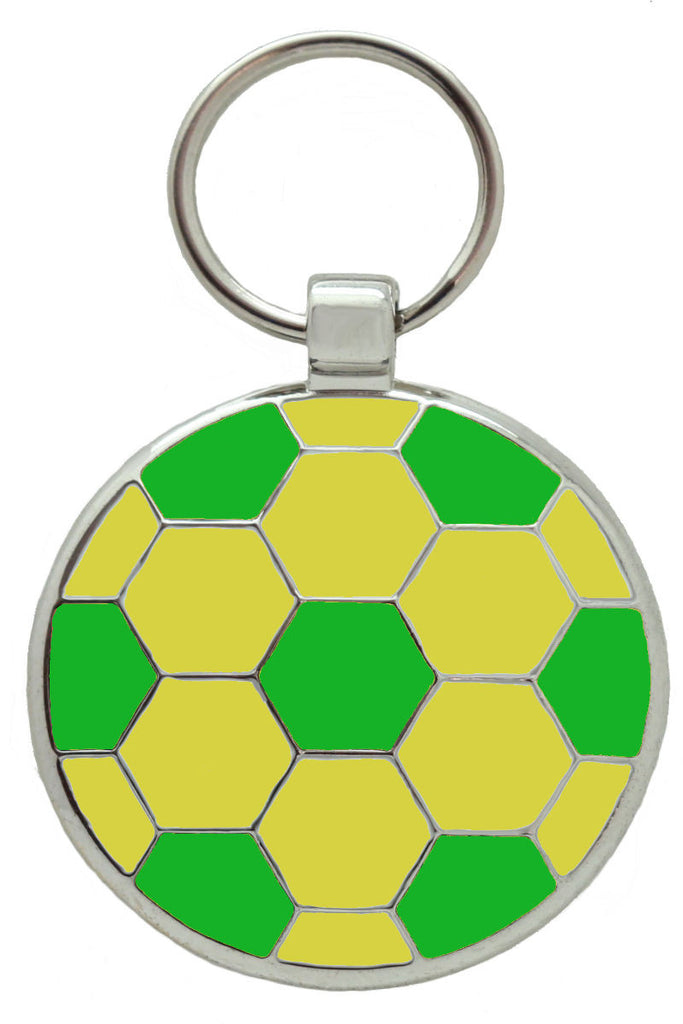 Green and Gold Football Pet Tag