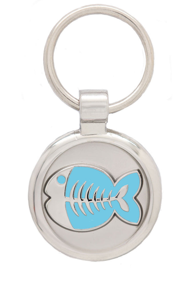 Blue Cat Collar & Extra Small Fish Pet Tag - Pawprint Pet Tags