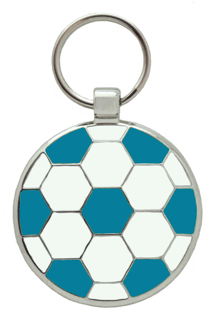 Light Blue and White Football Pet Tag