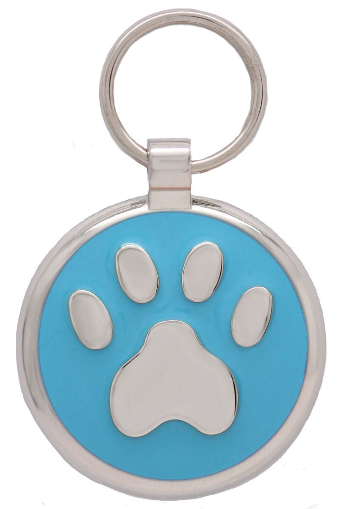 Sky Blue Pawprint Pet Tag - Pawprint Pet Tags