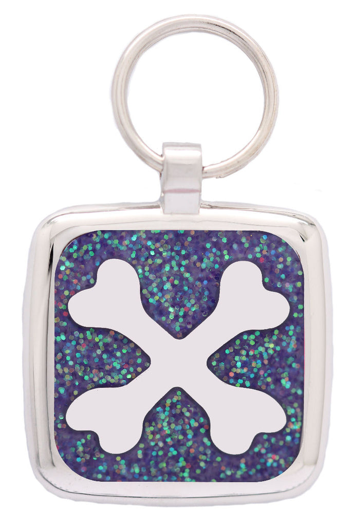 Light Purple Glitter Crossbone Pet Tag - Pawprint Pet Tags