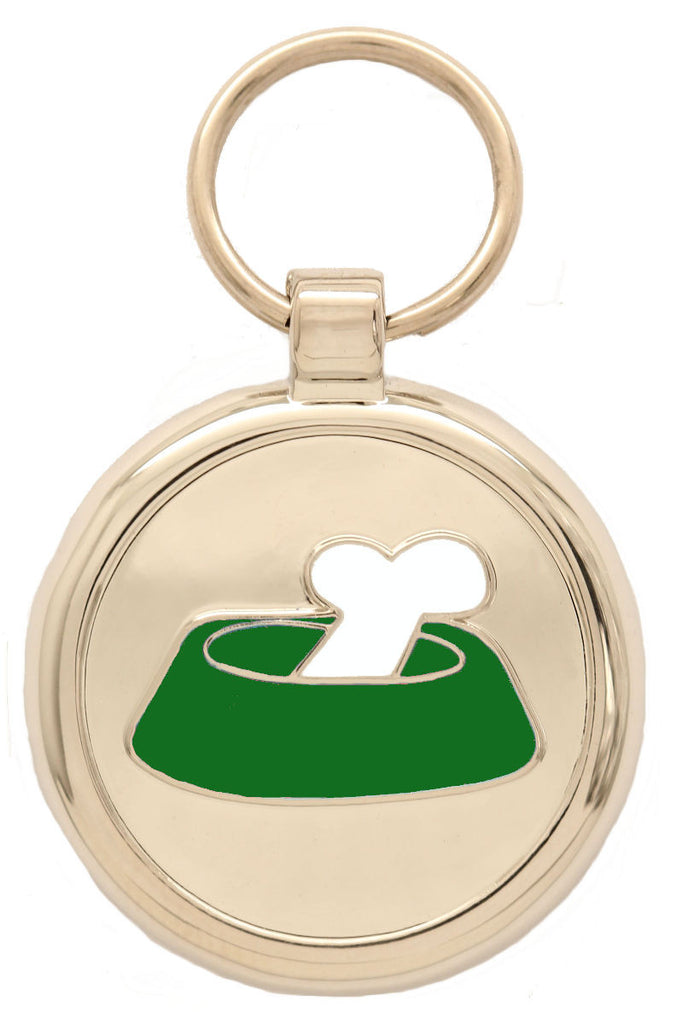 Lime Green Bone in a Bowl Pet Tag