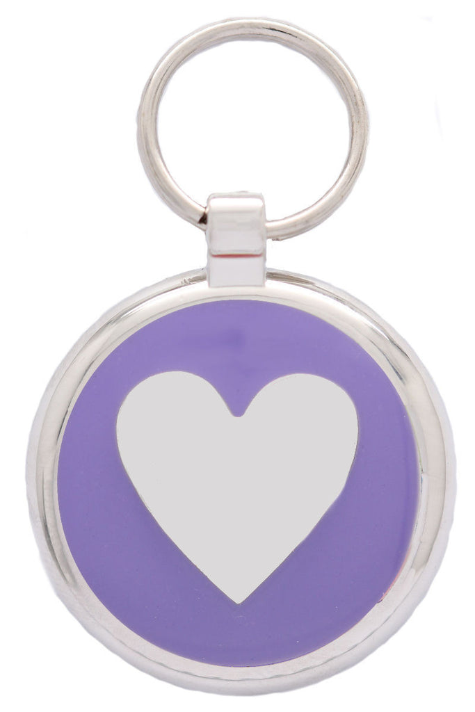Purple Love Heart Pet Id Tag