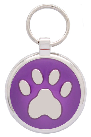 Dark Blue Pawprint Pet Tag