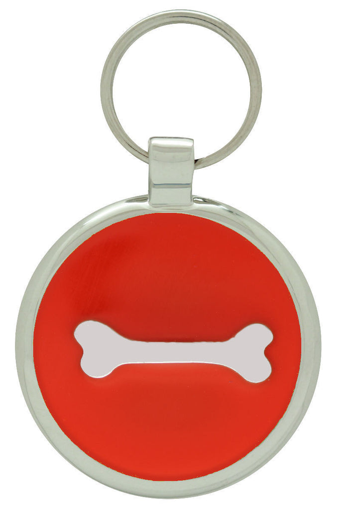 Orange Single Bone Pet Tag - Pawprint Pet Tags