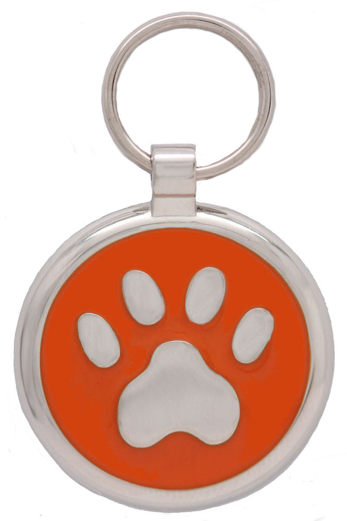 Orange Pawprint Pet Tag - Pawprint Pet Tags