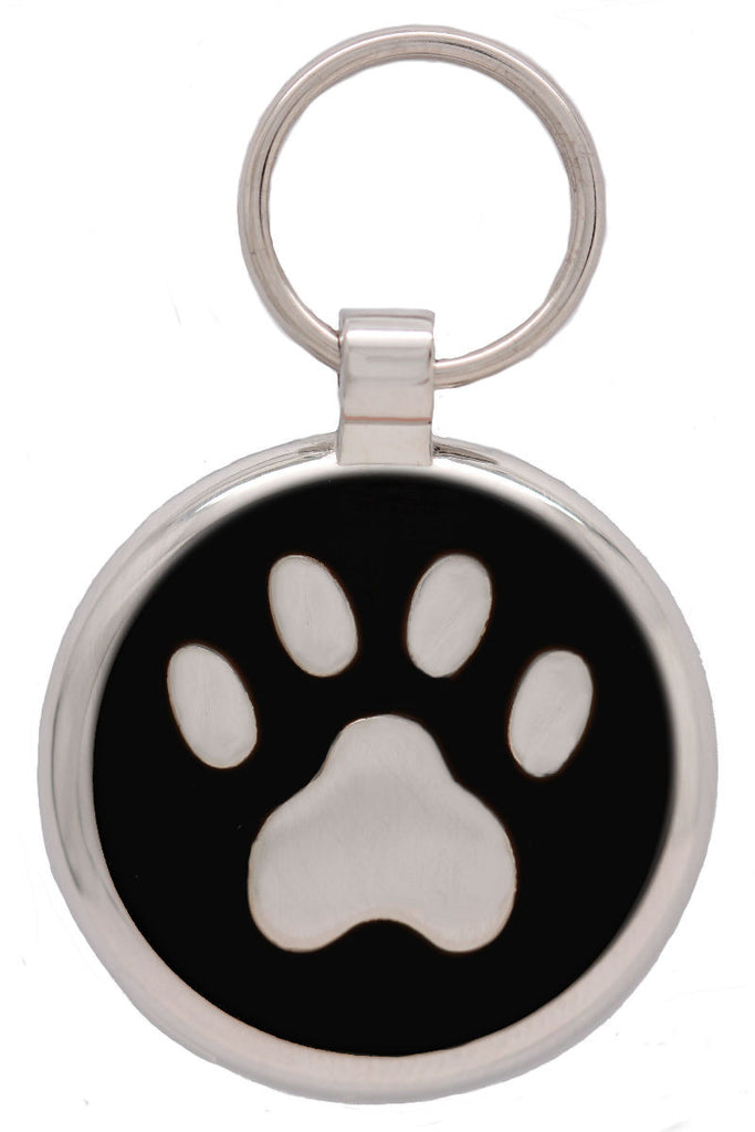 Black Pawprint Pet Tag - Pawprint Pet Tags