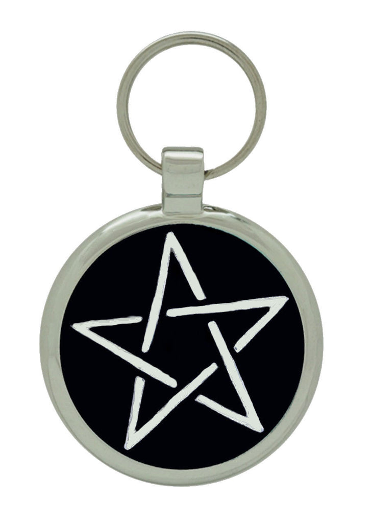 black pentacle charm cat tag and dog tag pet identification tag