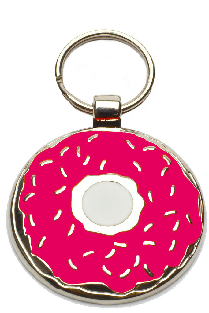 Bright Pink Donut Pet Tag - Pawprint Pet Tags