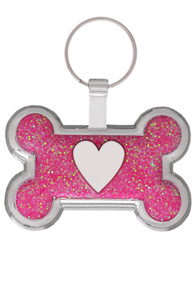 Pink Glitter Bone Heart Pet Tag - Pawprint Pet Tags