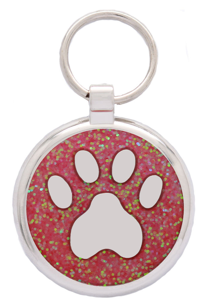 Pink Glitter Pawprint Pet Tag - Pawprint Pet Tags