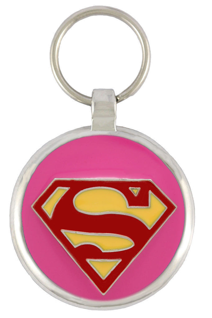 Superdog Pink Pet Tag - Pawprint Pet Tags