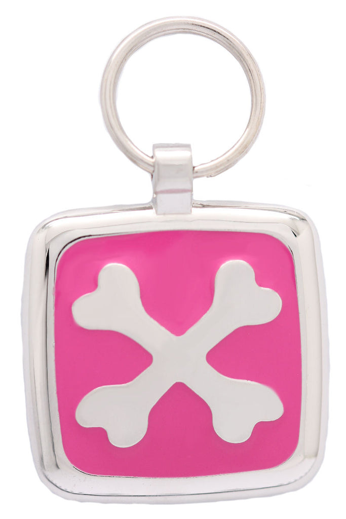 Bright Pink Cross Bone Pet Id Tag - Pawprint Pet Tags