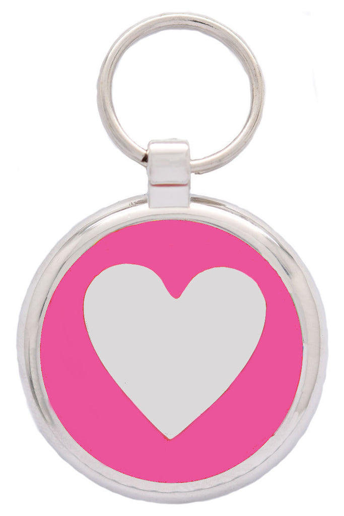 Pink Love Heart Pet Id Tag