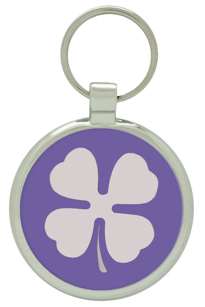 Purple Clover Pet Id Tag