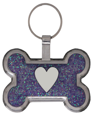 Red Glitter Pawprint Pet Tag