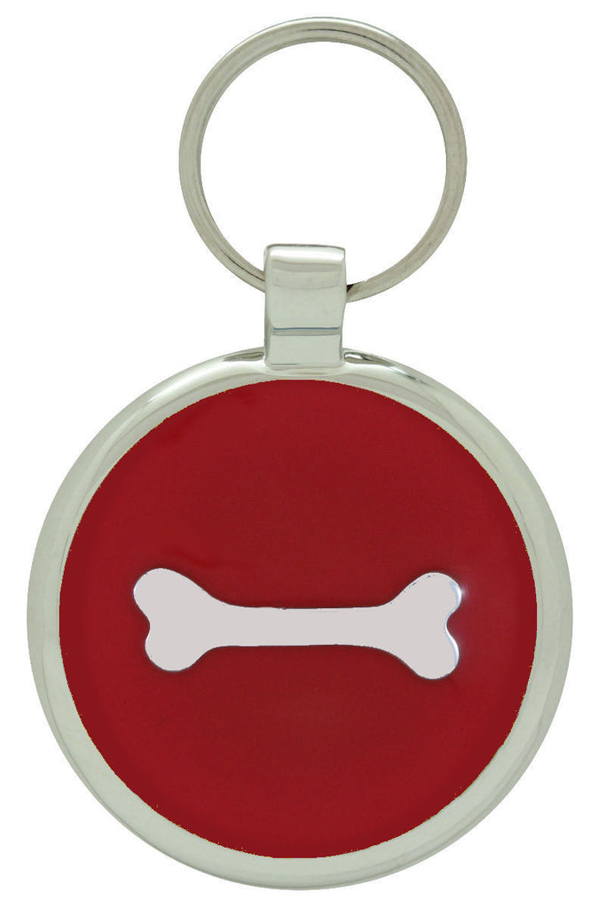 Red Single Bone Pet Tag - Pawprint Pet Tags