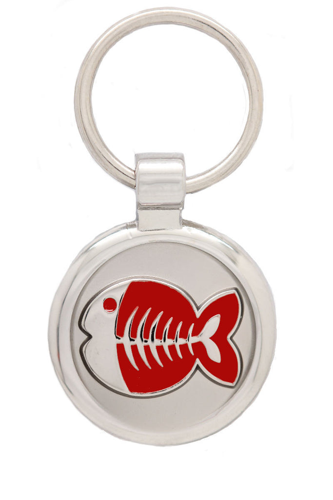 Red Cat Collar & Extra Small Fish Pet Tag - Pawprint Pet Tags