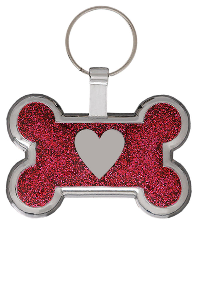 Red Glitter Bone Heart Pet Tag - Pawprint Pet Tags