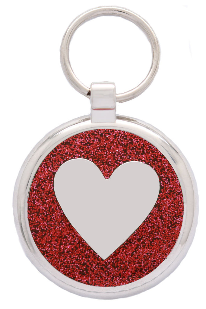 Red Glitter Love Heart Pet Tag - Pawprint Pet Tags