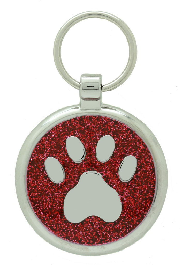 Red Glitter Pawprint Pet Tag - Pawprint Pet Tags
