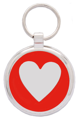 Red Glitter Love Heart Pet Tag