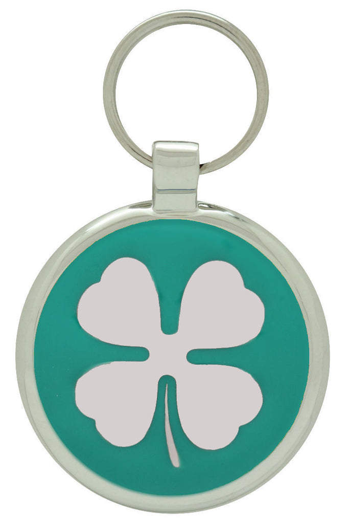 Teal Clover Pet Tag - Pawprint Pet Tags