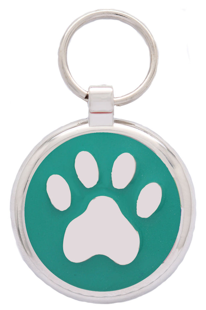 Teal Pawprint Pet Tag - Pawprint Pet Tags
