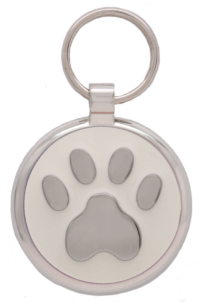 White Pawprint Pet Tag - Pawprint Pet Tags