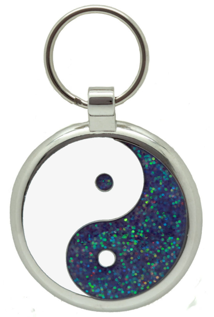 Light Purple Glitter Yin Yang Pet Tag - Pawprint Pet Tags