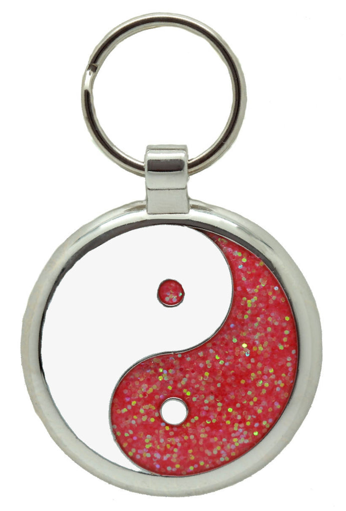 Pink Glitter Yin Yang Pet Tag - Pawprint Pet Tags