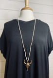 Veronica Beaded Bull Skull Necklace