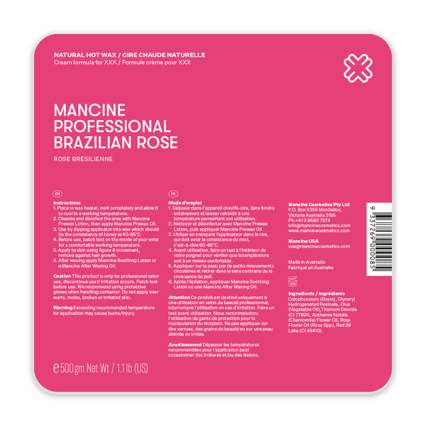 Mancine Hot Wax: Brazilian Rose (500gm)