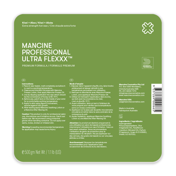 Mancine 'Ultra Flexxx' Hot Wax: Kiwi & Aloe (500gm)