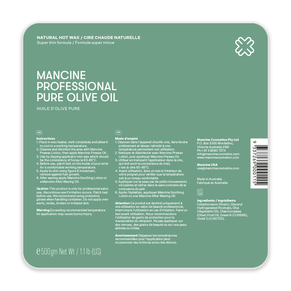 Mancine Hot Wax: Pure Olive (500gm)