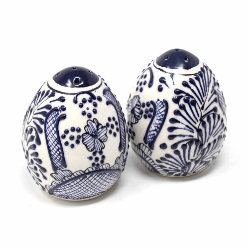 Hand-Painted Salt Shakers, Blue Flowers Pattern | Fair-Trade, Two in Set